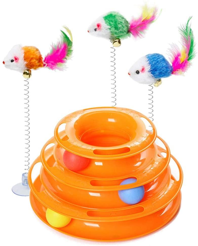 torre de pelotas con palo y raton gatos