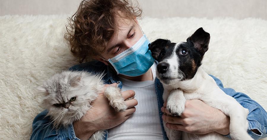 dueño de perro y gato con mascarilla
