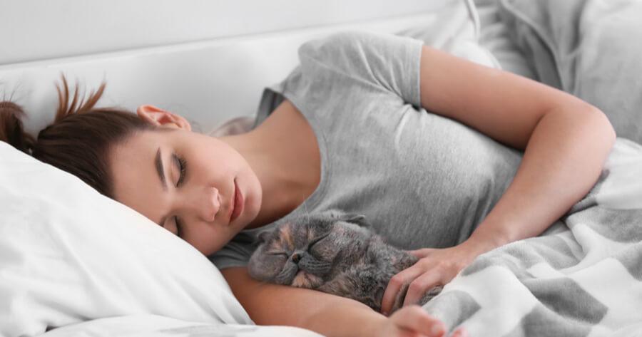 gato durmiendo con mama
