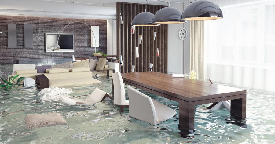 Wohnzimmer unter Wasser