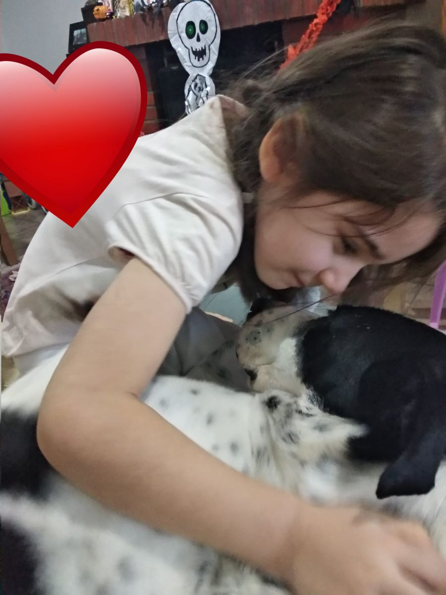 nina abraza a un perro