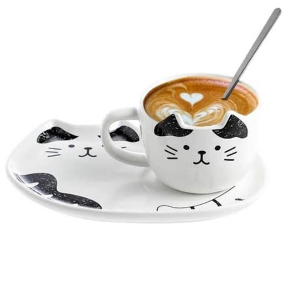 plato y taza gato