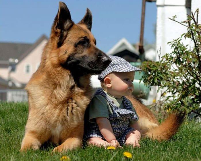 niño y bebe en el jardin
