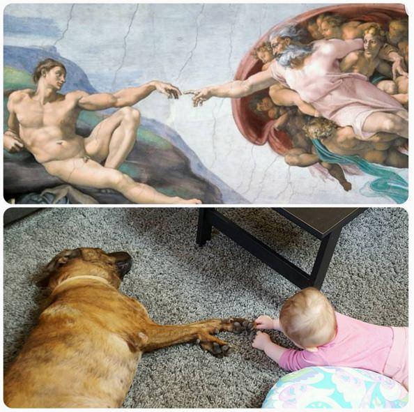 perro y bebe obra de arte
