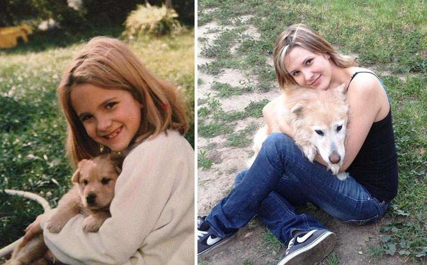 niña con su cachorro mujer con su cachorro