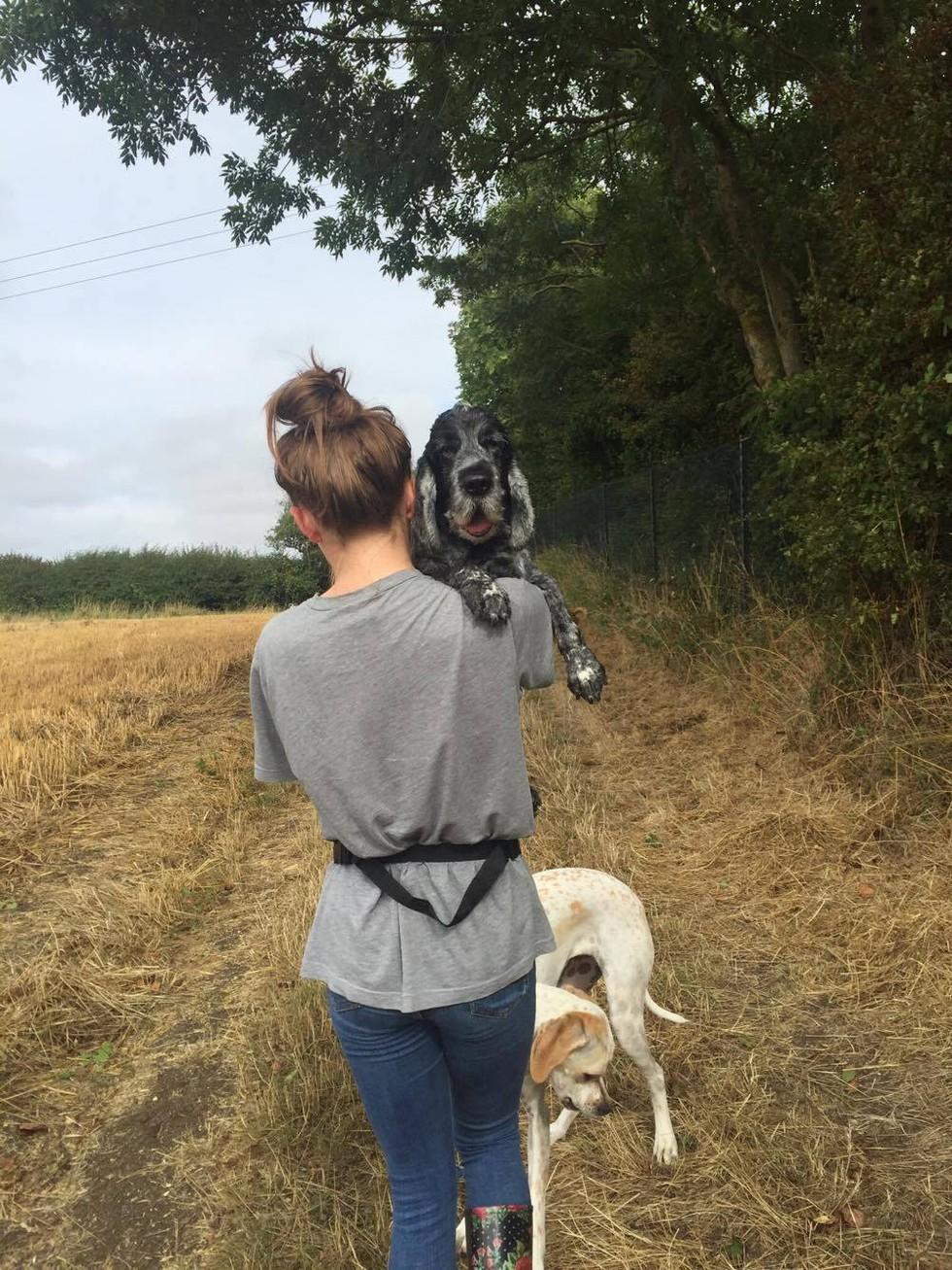 dueña con su perro en brazos