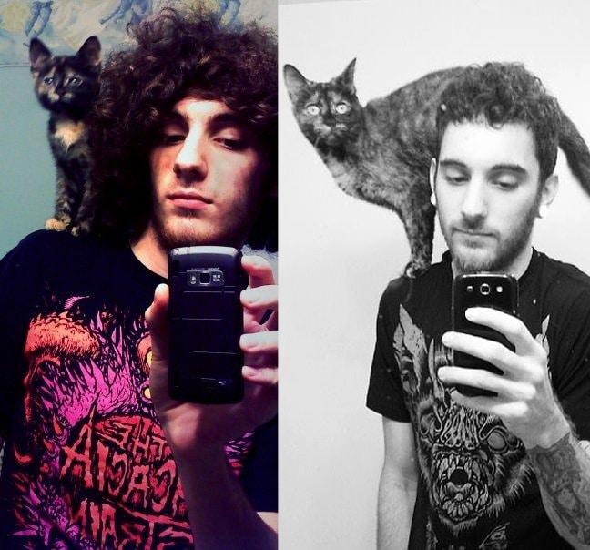 gato sobre la cabeza de su dueño