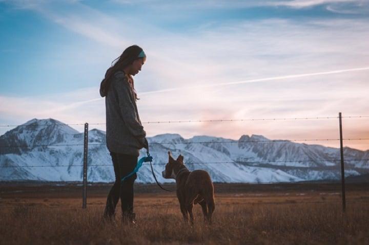 paseo perro y chica naturaleza