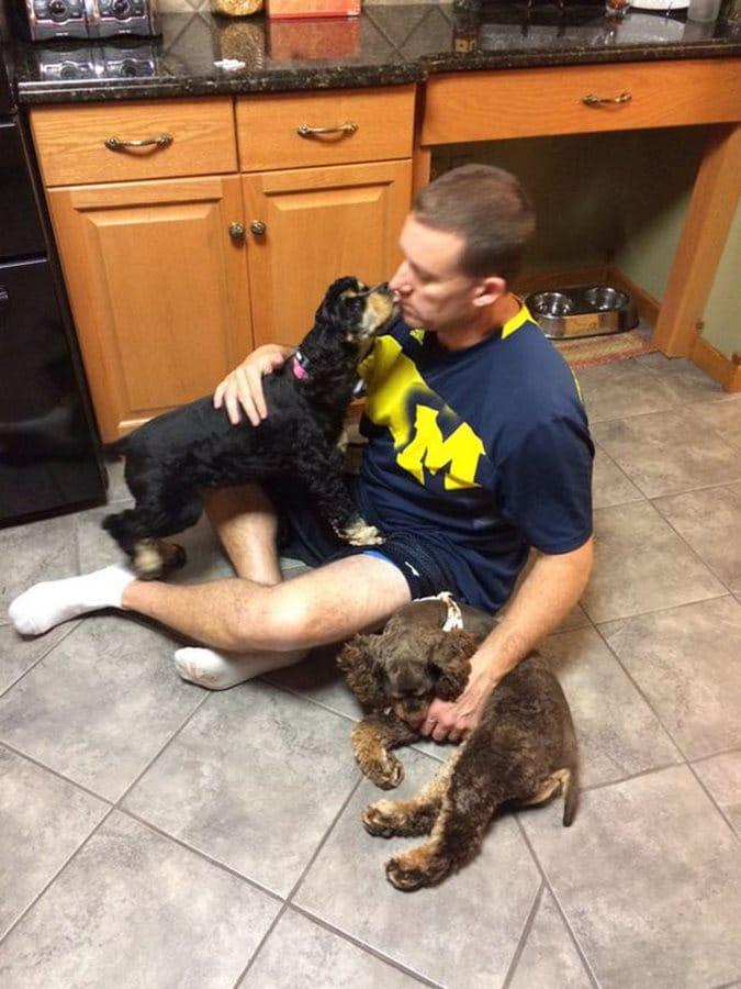 perro papá beso