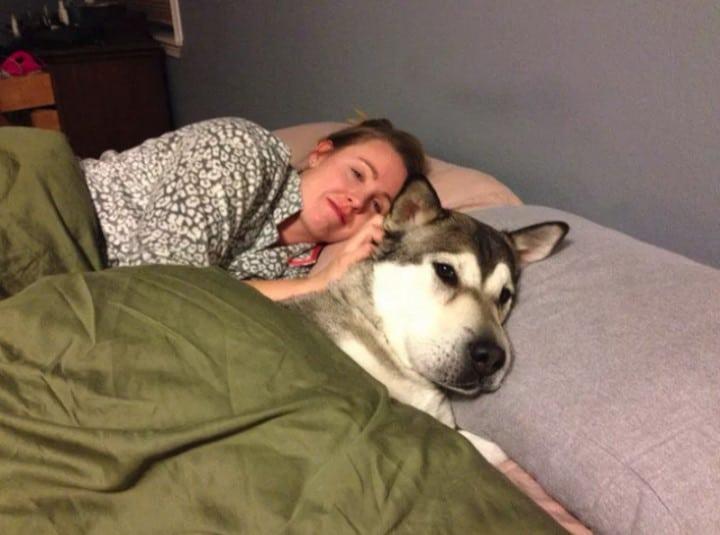 perro durmiendo en la cama con su dueña