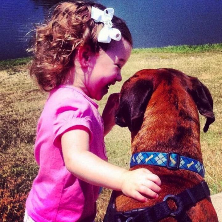 perro abrazando a niña