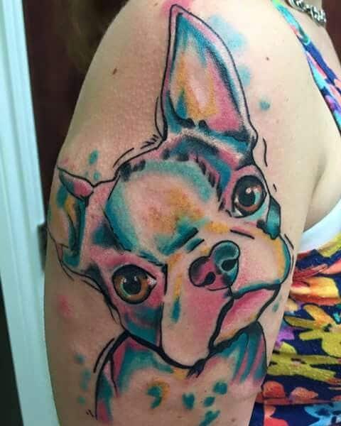 tatuaje bulldog frances a color brazo