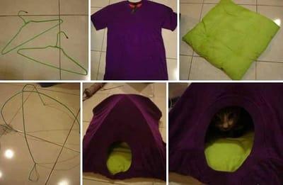 Caseta de perro hecha con camiseta