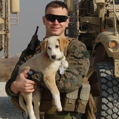 soldato tiene in braccio un cucciolo di cane