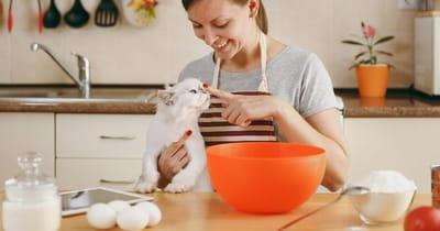 mujer cocina con un gato