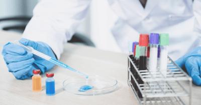 Dierenarts druppelt met een pipet vloeistof in een petrischaatje voor onderzoek