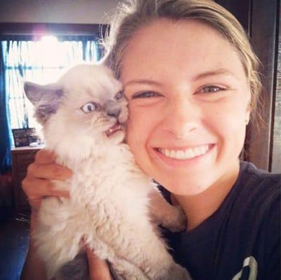 gato blanco enfadado selfie