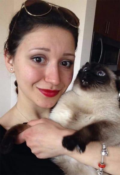 gato selfie caras
