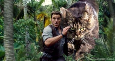 Chris Pratt huye gato gigante Jurassic Park
