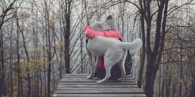 padrona-abbraccia-cane-su-ponte
