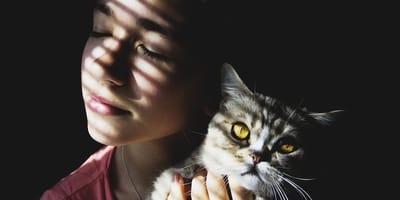 bimba con gatto in camera oscura