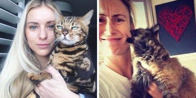 Zwei Frauen mit zwei Katzen