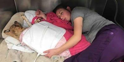 la veterinaria durmiendo junto a Taka