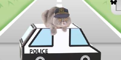 Gatto poliziotto in cartone animato