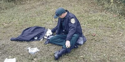 perro atropellado y policía