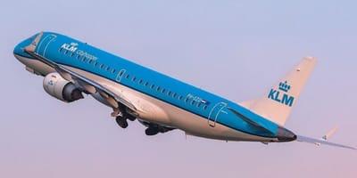 A KLM plane takes off
