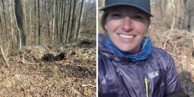 Joggerin stolpert im Wald über einen Schatten: Als sie sich nähert, erkennt sie ihren Fehler