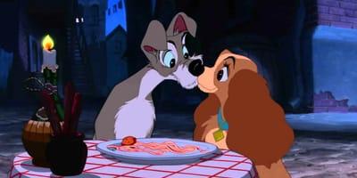 la dama y el vagabundo beso