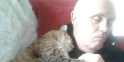 uomo che dorme col gatto