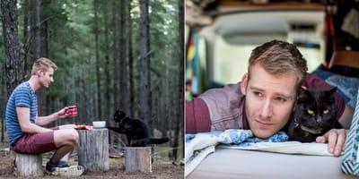 Rzucił pracę i sprzedał wszystko, co posiadał, aby podróżować ze swoim kotem!