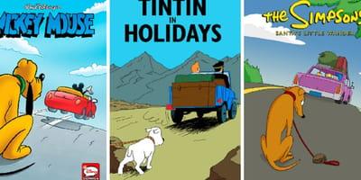 Tintín y Mickey Mouse abandonan a sus perros envacaciones de verano