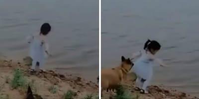 La niña y el perro junto al lago