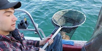 Luchs im Fischernetz