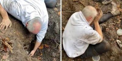 Mężczyzna wkłada rękę do lisiej nory. Nie może uwierzyć jak bardzo mu się poszczęściło! (VIDEO)