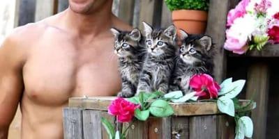 Mann mit Kätzchen