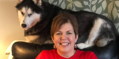When owner finds out why her dog has been sniffing her belly, she is floored