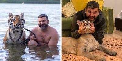 Mann mit Wildkatzen