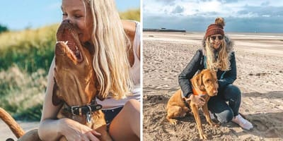 Frau mit Blindenhund