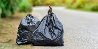 bin bags near road