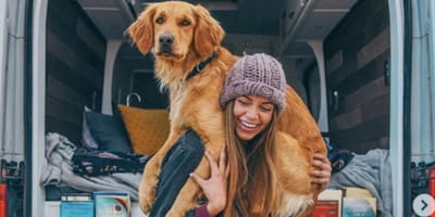 Woman goes on the road with her dogs
