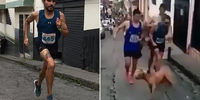 Okrutny kolumbijski biegacz, podczas wyścigu kopie psa!