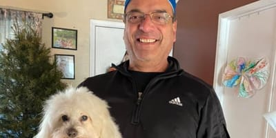 Rudy z nieswoim psem