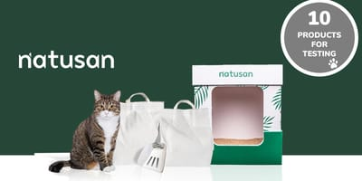 Natusan products with a cat