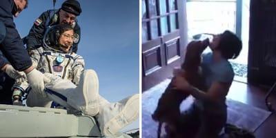 Astronautin Christina Koch mit Hund