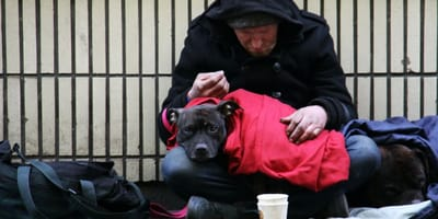 senzatetto con cane in strada