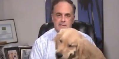 hombre del tiempo con su perro